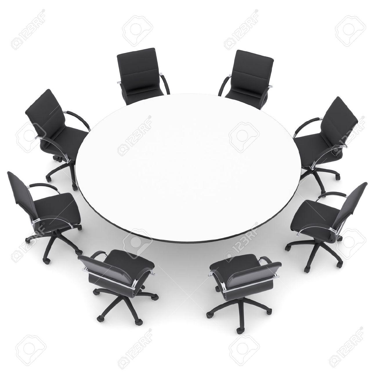Les Chaises De Bureau Et Table Ronde Rendre Isol Sur Un Fond Blanc