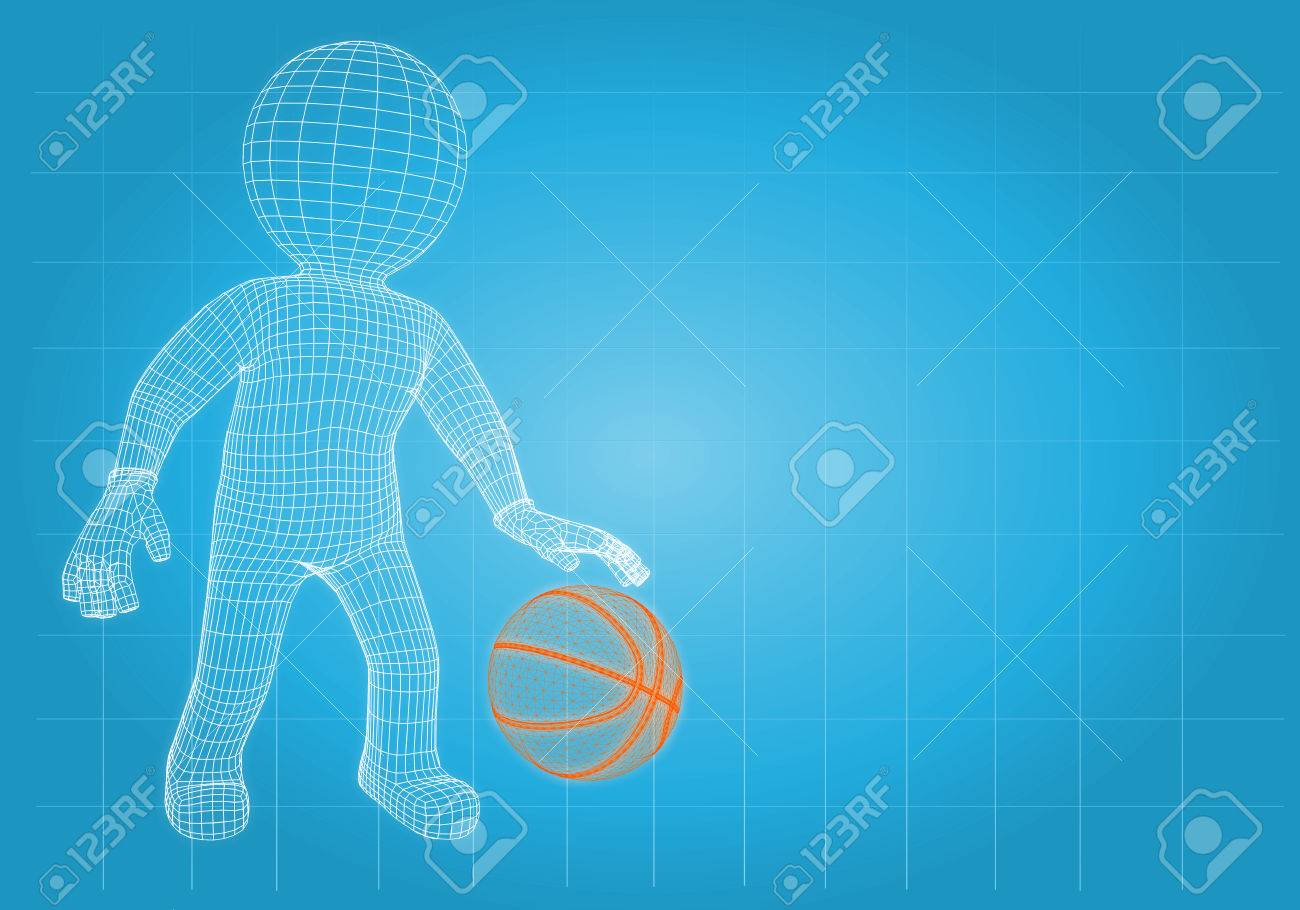 Wire frame basketball player with the ball  Render on a blue background Stock Photo - 23102478