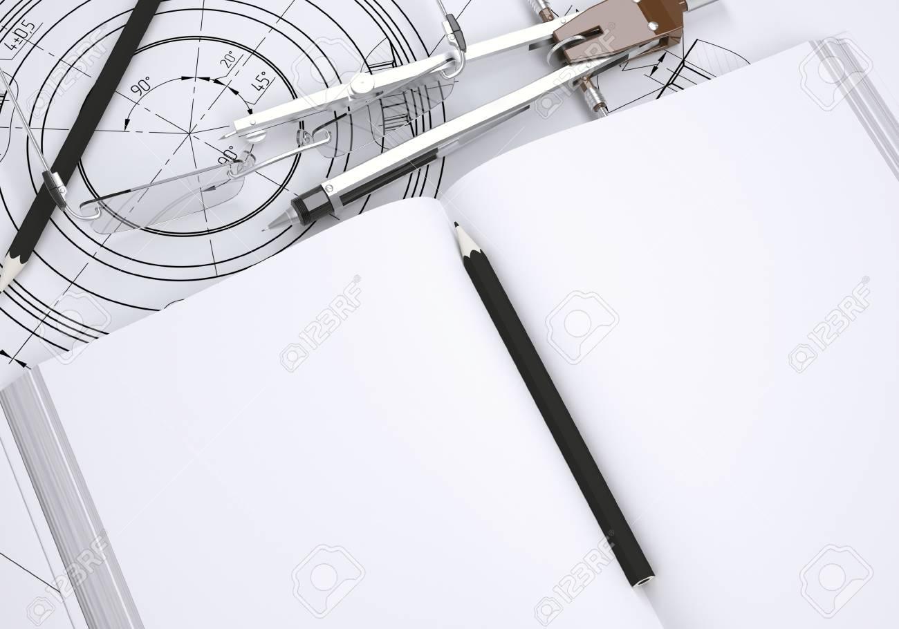 Livre Lunettes Regle Compas Et Crayon Trouvent Sur Le Dessin Rendu 3d