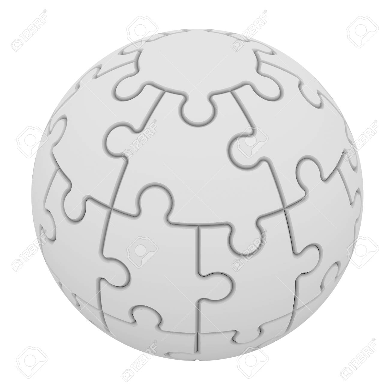Sphere consisting of puzzles  Isolated render on a white Stock Photo - 23917992