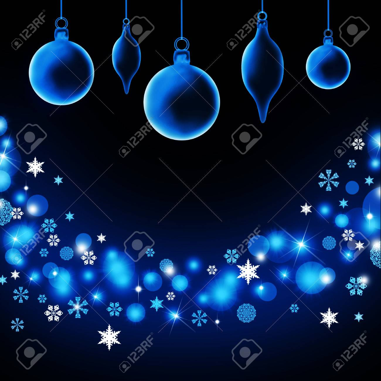 Transparent Christmas Decorations Balls And Icicles On A Blue
