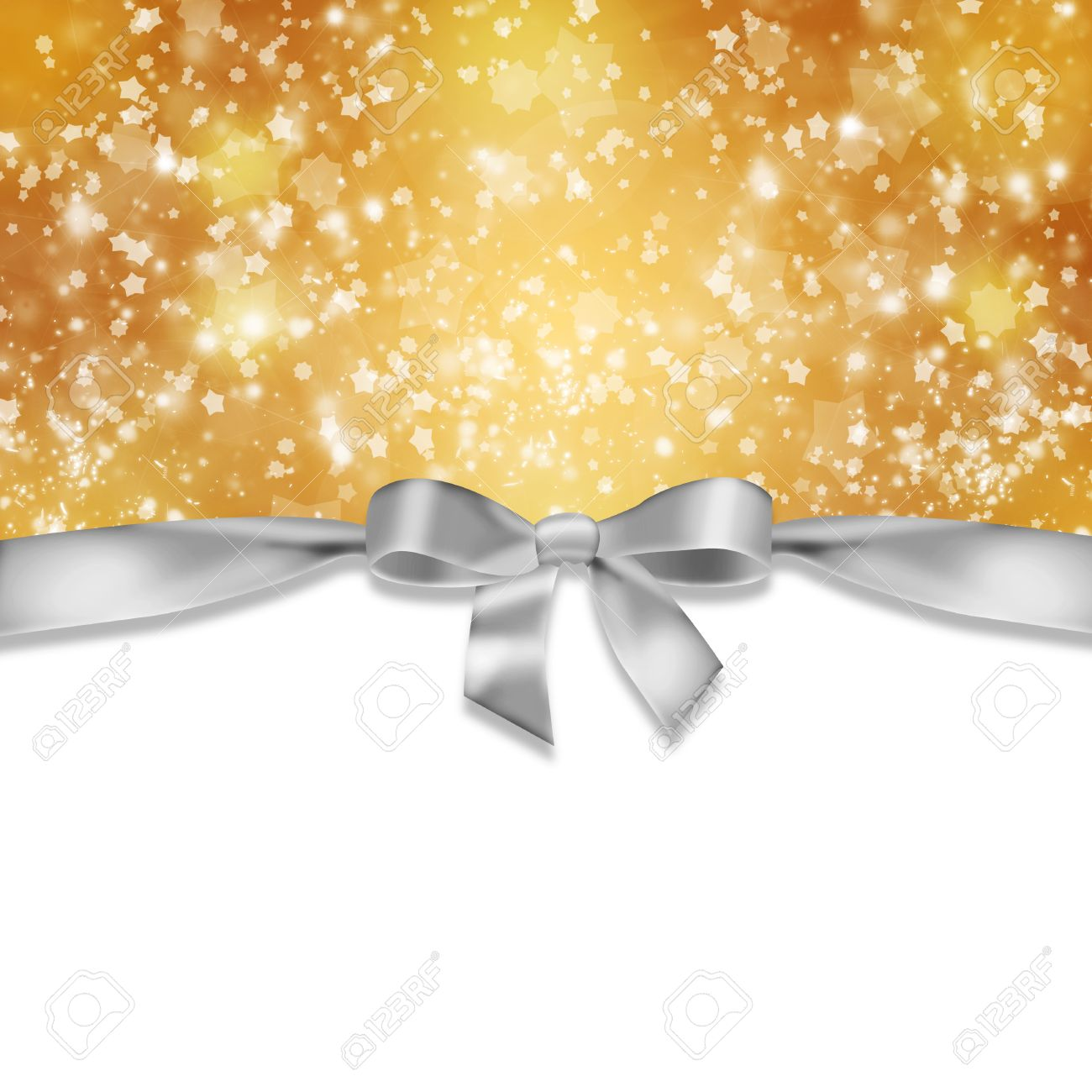 New Year S Background Ribbon And Snowflakes On Abstract Gold Stock Photo