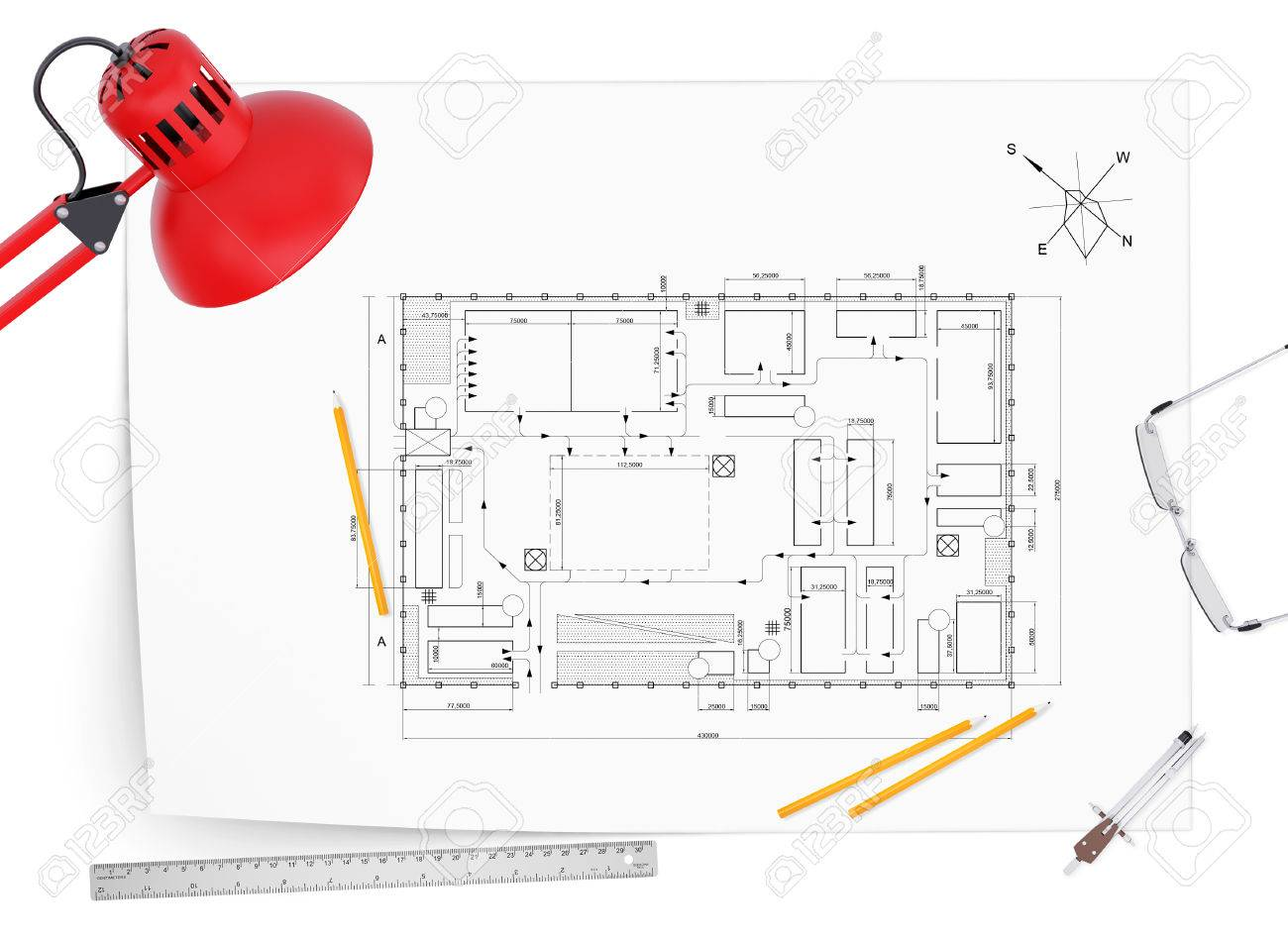 Desktop Architect Drawing, Lamp, Tools Engineer And A Cup Of Coffee Stock  Photo