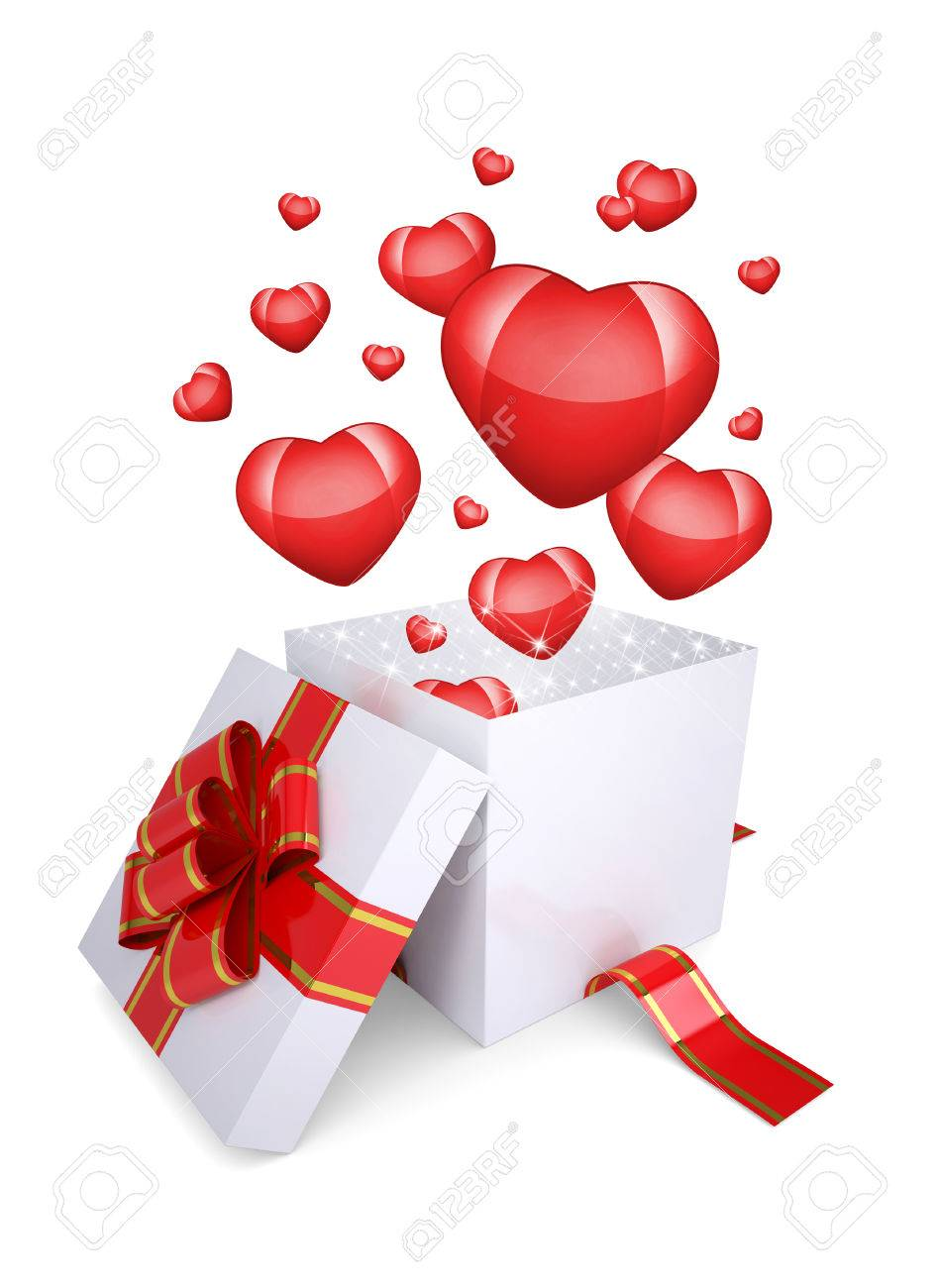 red hearts fly out of an open gift box the concept of valentine