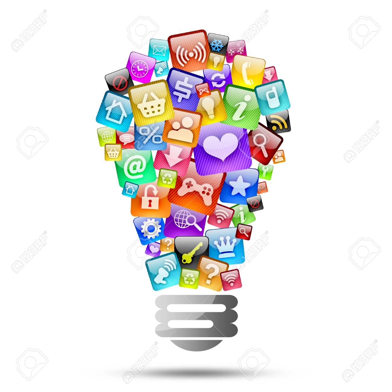 Lamp Consisting Of Apps Icons The Concept Of Software Stock Photo   25729954