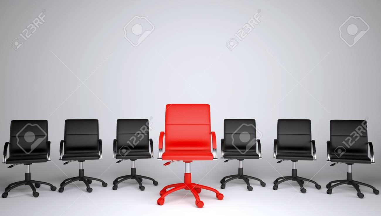 Série de noir et une chaise de bureau rouge sur un fond gris le