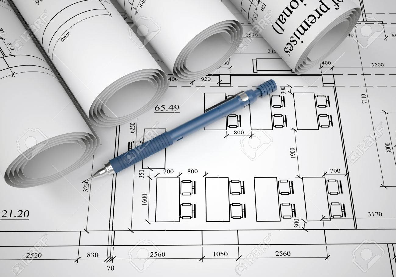 Architect Desk scrolls of architectural drawings the desk architect stock photo