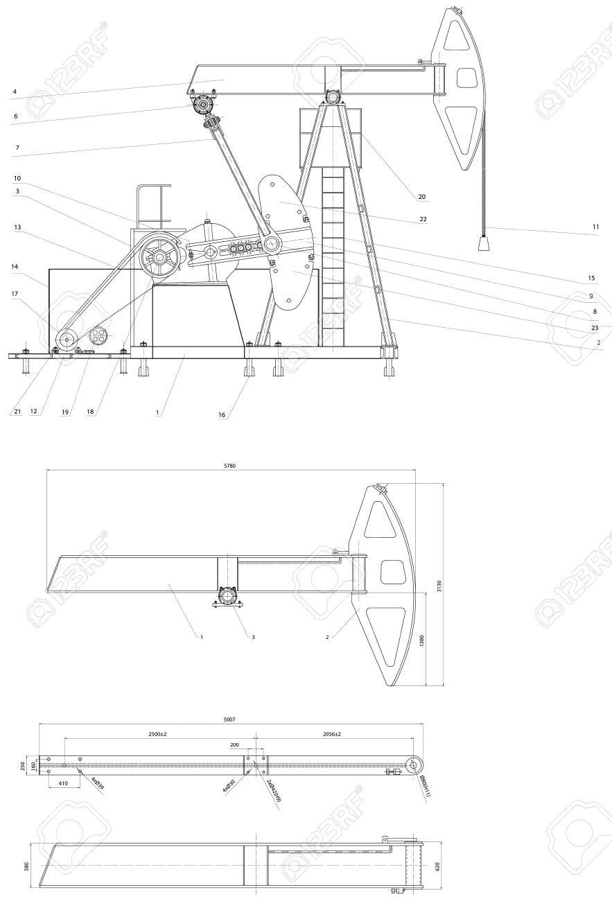 Engineering drawing drive submersible oil pump plunger Vector