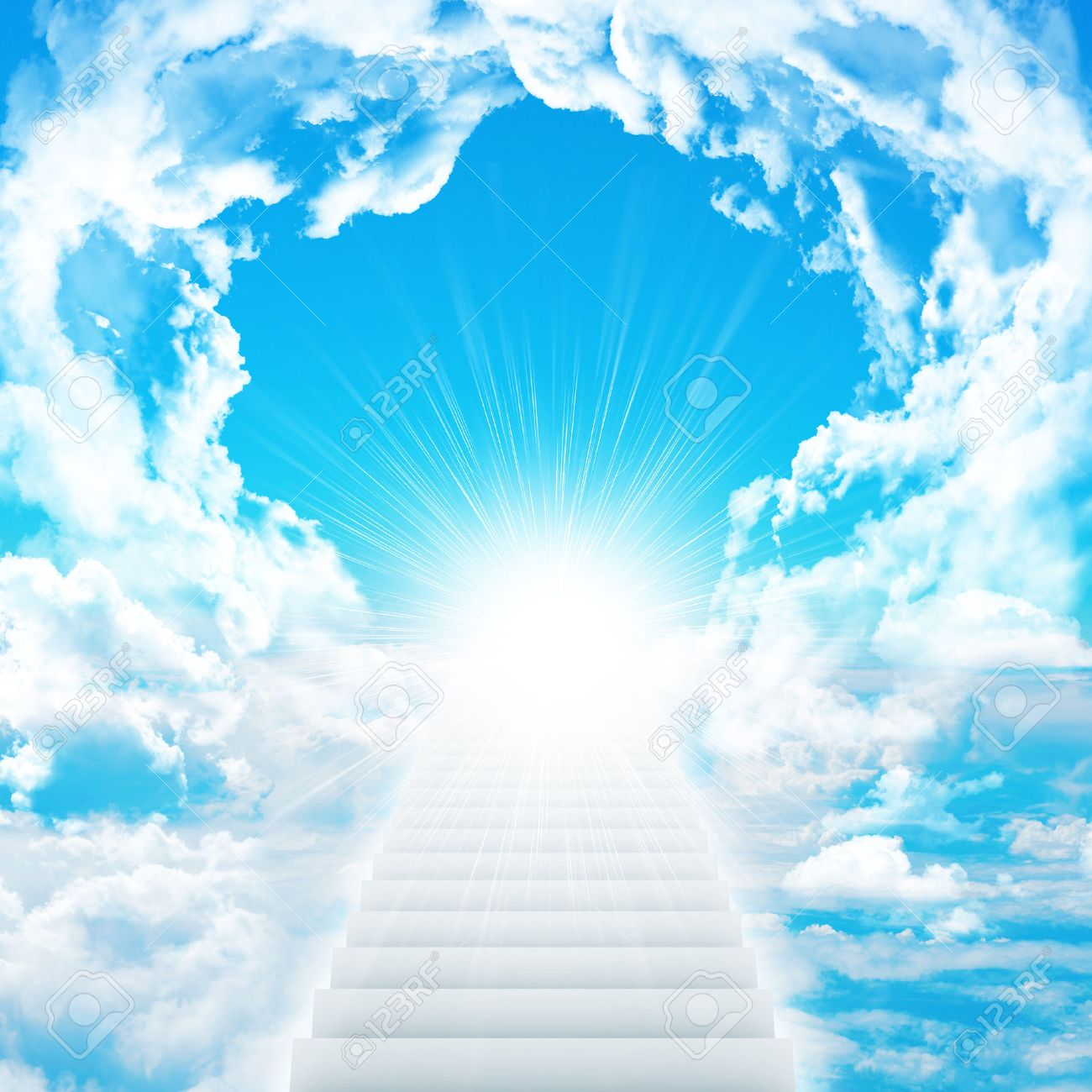 stairs in sky with clouds and sun concept background stock photo