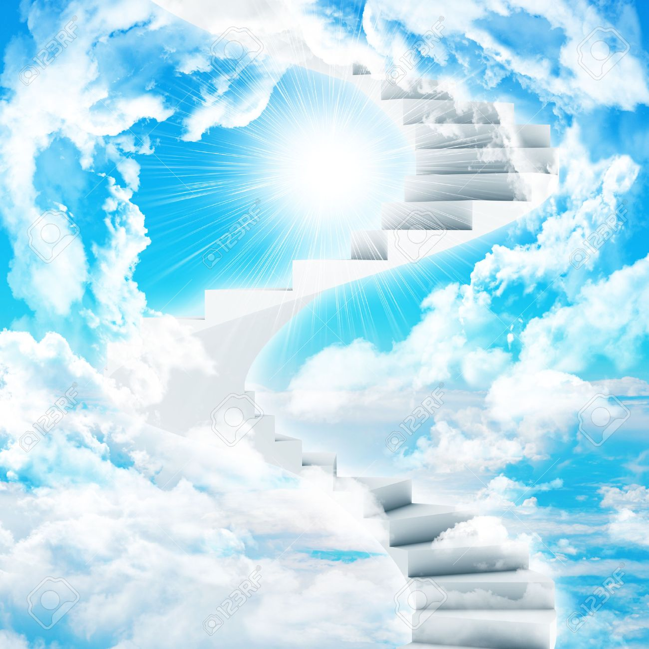 Superior Spiral Stairs In Sky With Clouds And Sun. Concept Background Stock Photo    30694654