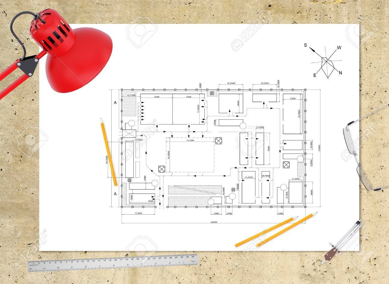Technical Plan Of Building On Workplace Table Lamp Ruler Pencils Compasses And
