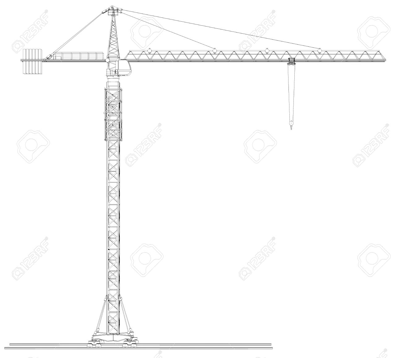 Wire-frame tower crane  Isolated on white background