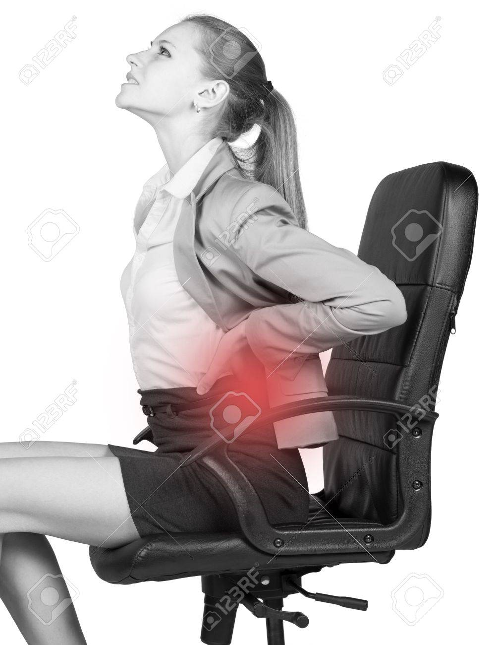 Businesswoman With Lower Back Pain Sitting On Office Chair Stock Photo Picture And Royalty Free Image Image 36660605