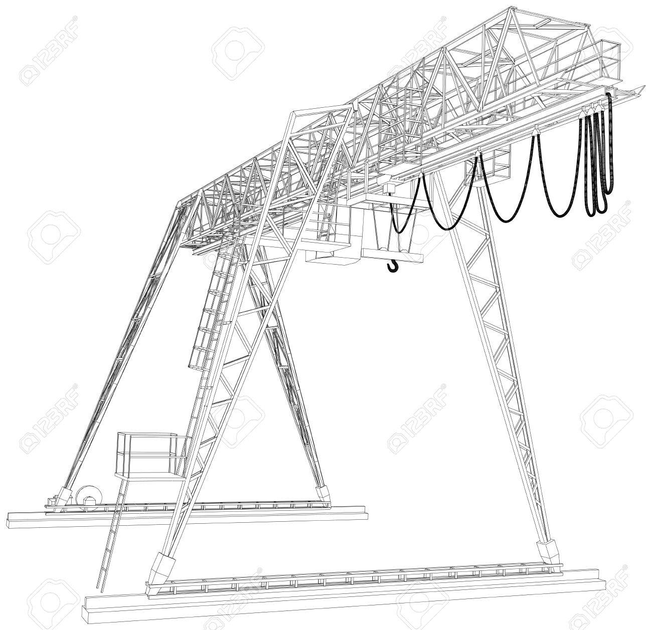 Grúa De Pórtico. Alambre-marco. Ilustraciones Vectoriales, Clip Art ...