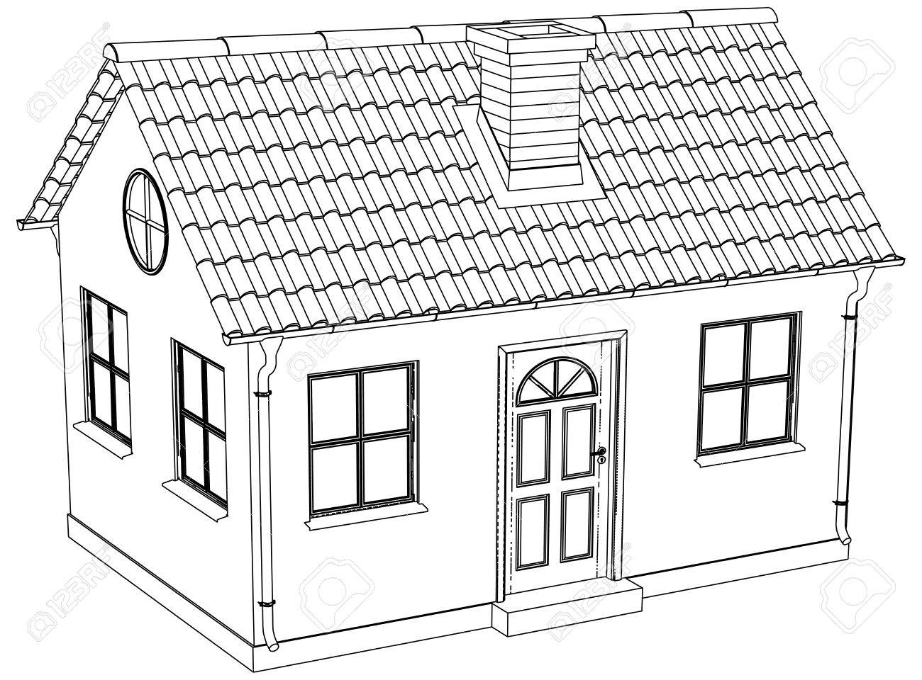 Wire-frame House. Vector Illustration Rendering Of 3d Royalty Free ...