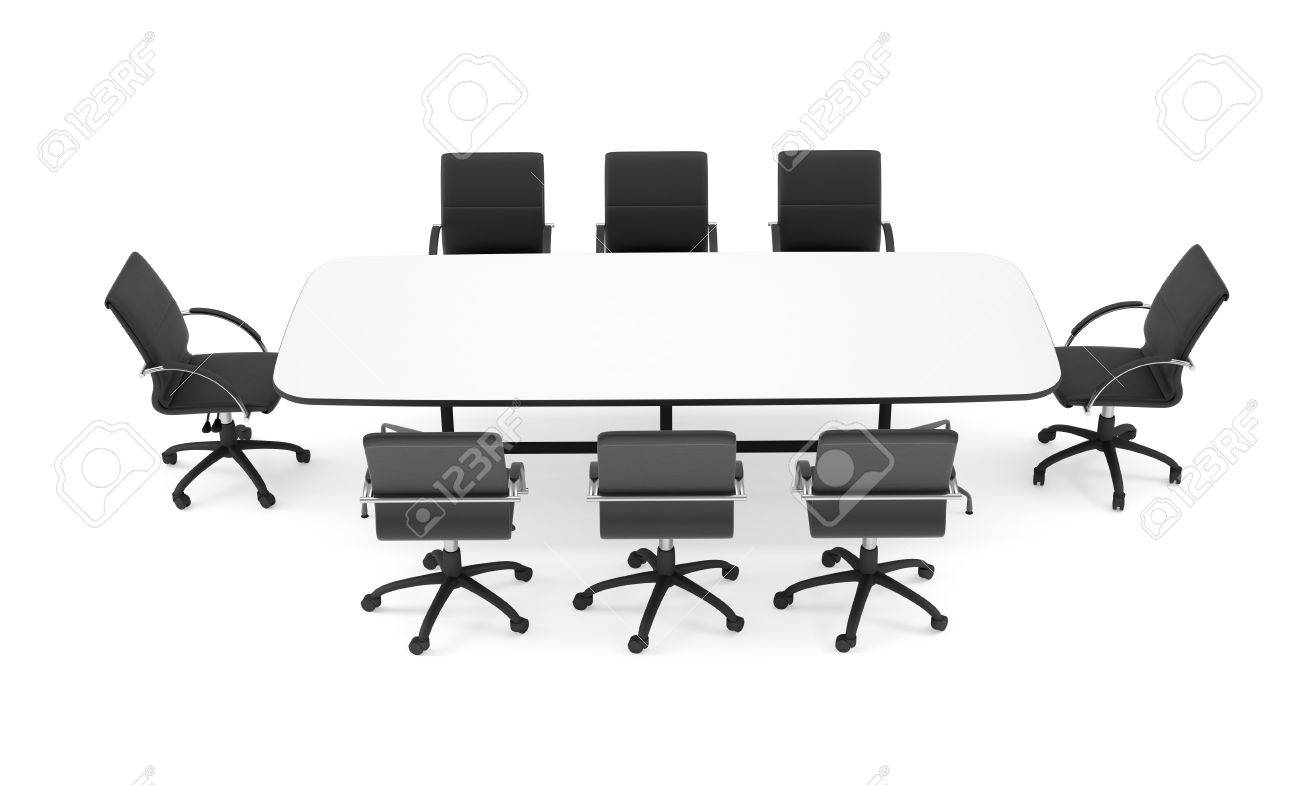 Conference Table And Black Office Chairs. Top View. Isolated.. Stock ...