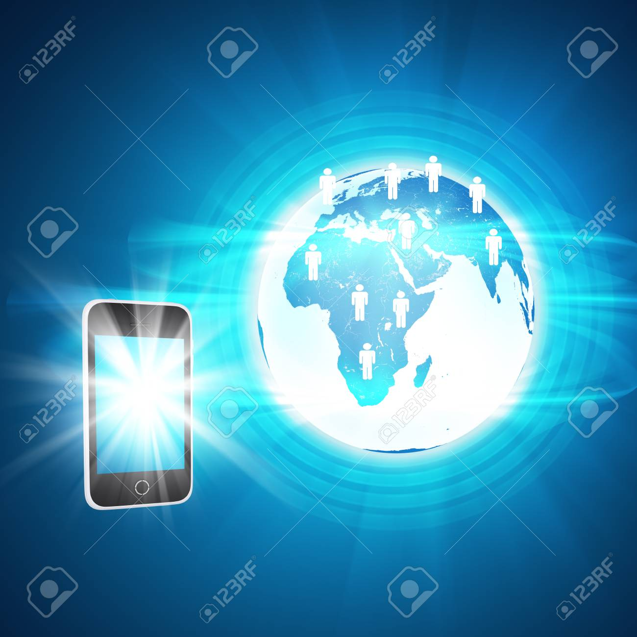 Earth with smartphone and people icons on abstract blue background earth with smartphone and people icons on abstract blue background with world map foto de archivo gumiabroncs Gallery