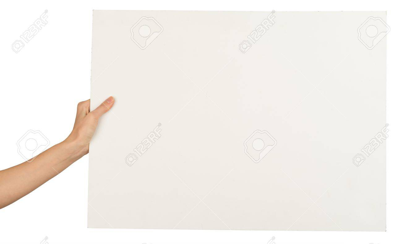 Humans Hand With Horizontal Blank Paper On Isolated White – Horizontal Writing Paper