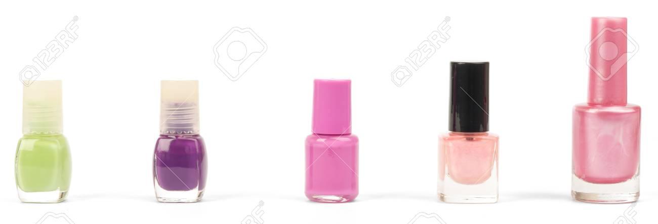 Colores Esmaltes De Uñas Aislados Sobre Fondo Blanco