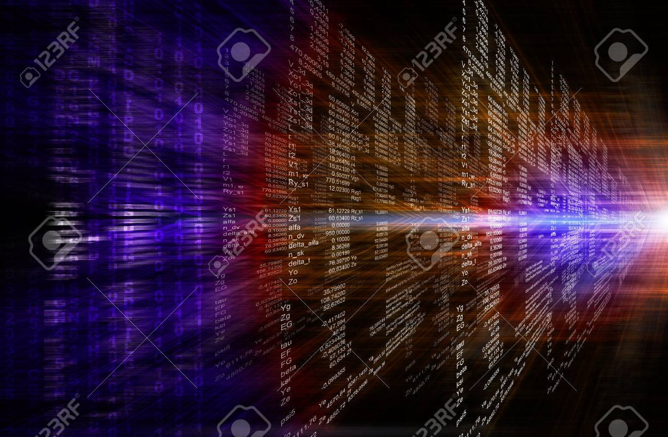Binary computer code. Matrix red and purple abstract background - 50824988