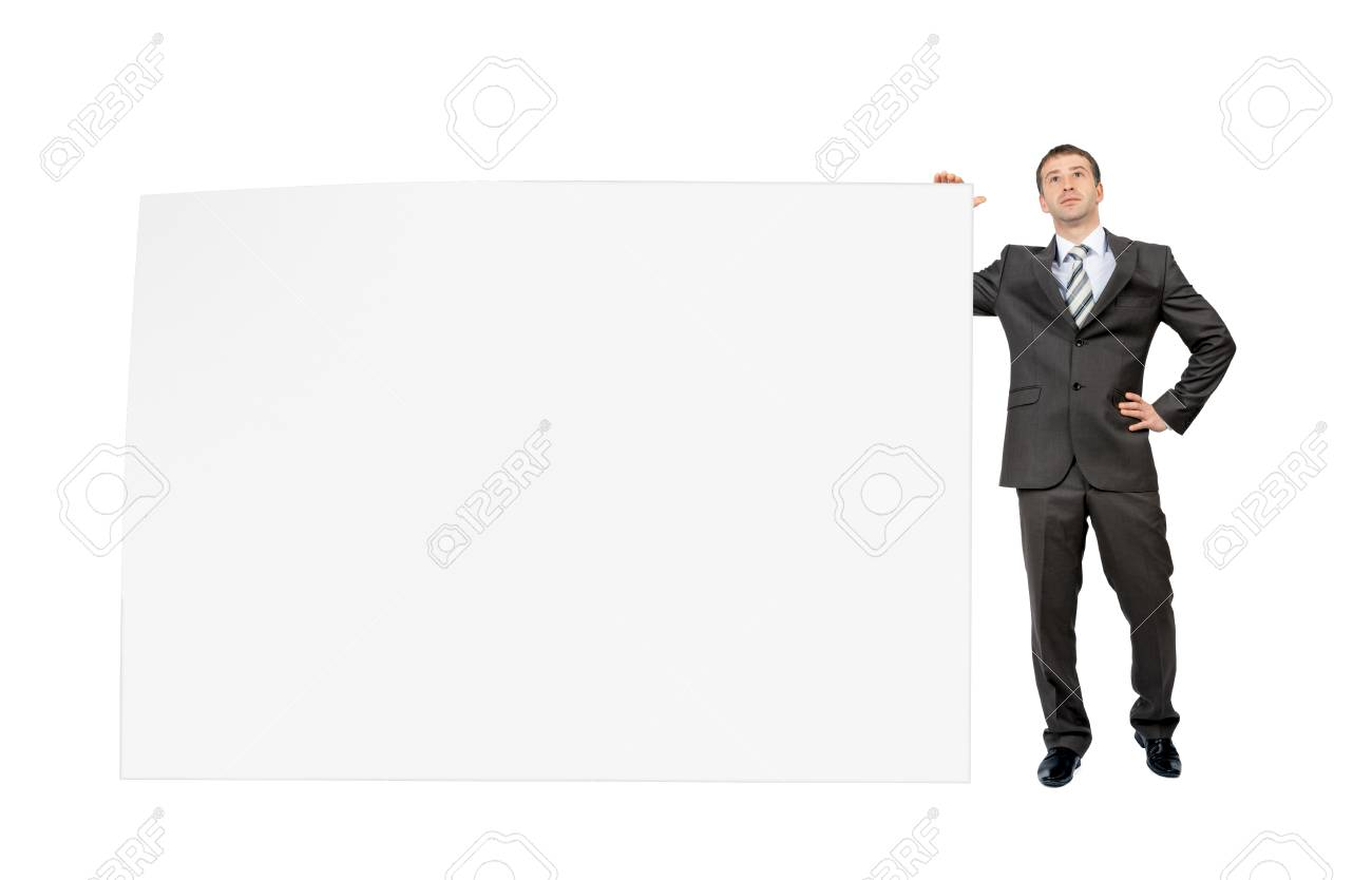 businessman with big blank piece of paper isolated on white