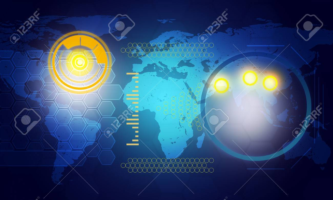 Holographic screen with world map and circles on blue background holographic screen with world map and circles on blue background technology concept stock photo gumiabroncs Choice Image