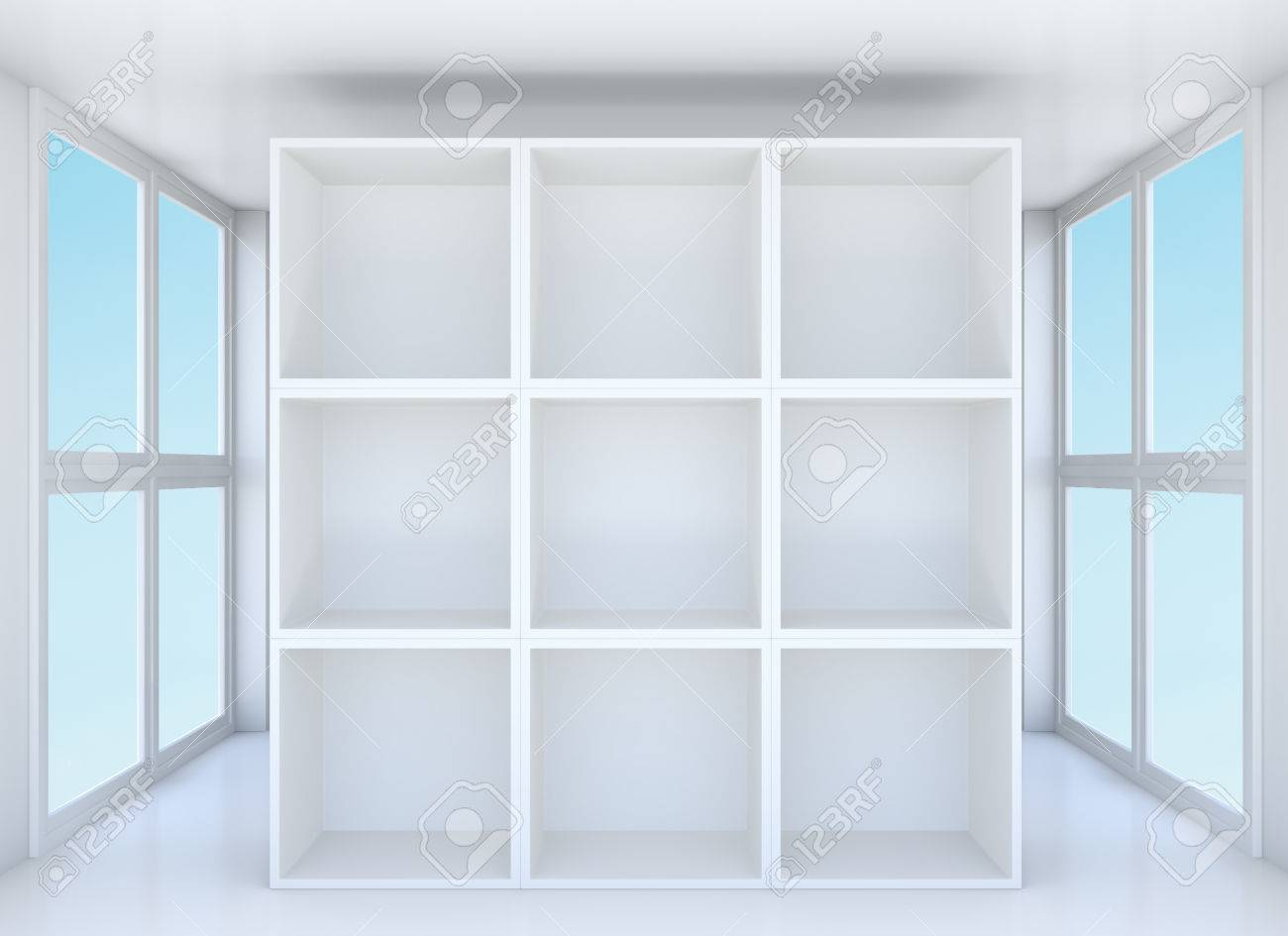 Empty Showcase Or Bookshelf In Clean Room. Blue Sky Outside Window. 3D  Illustration Stock