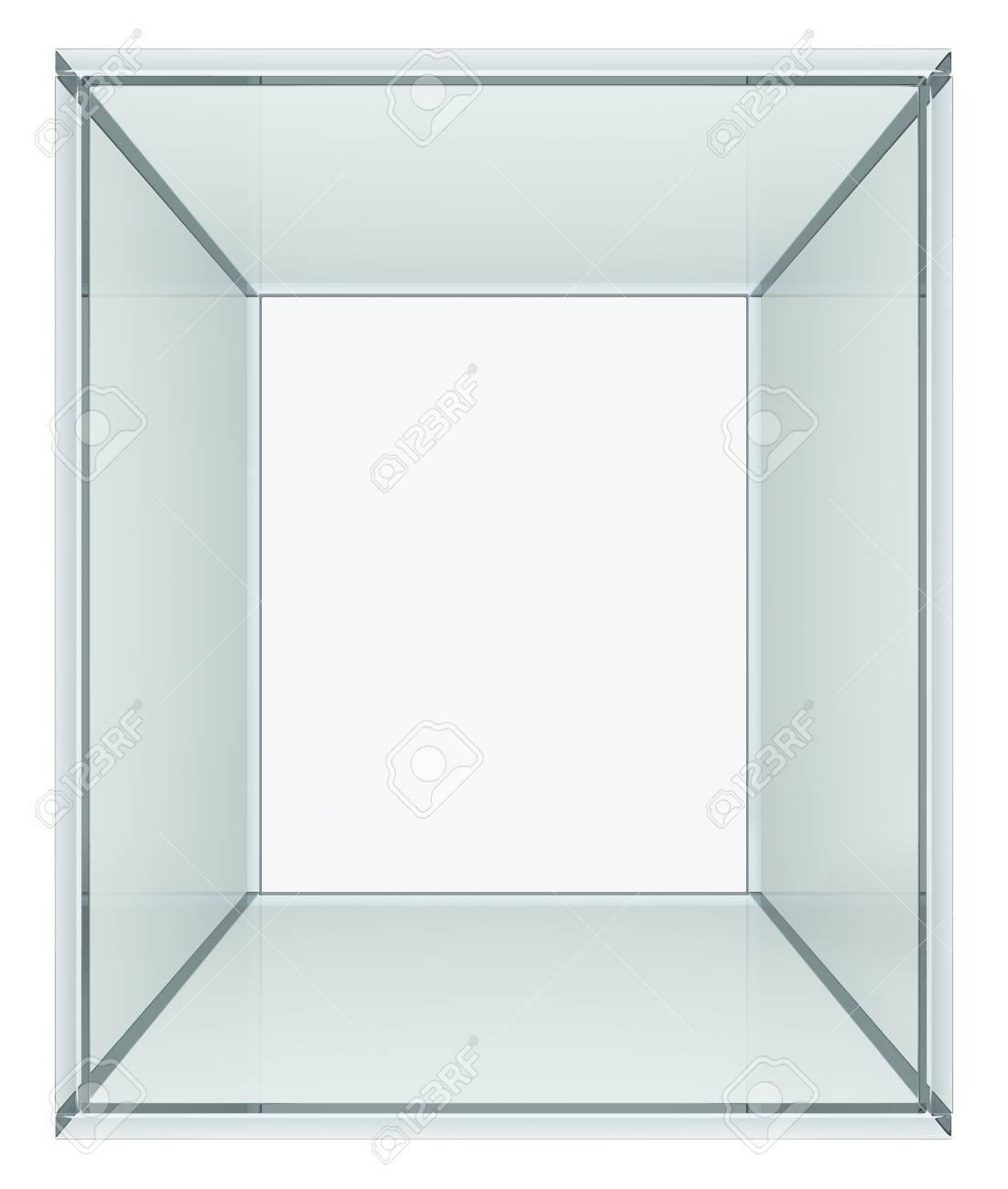 Glazen Kubus Met Foto.Lege Glazen Kubus Geisoleerd Op Wit 3d Illustratie