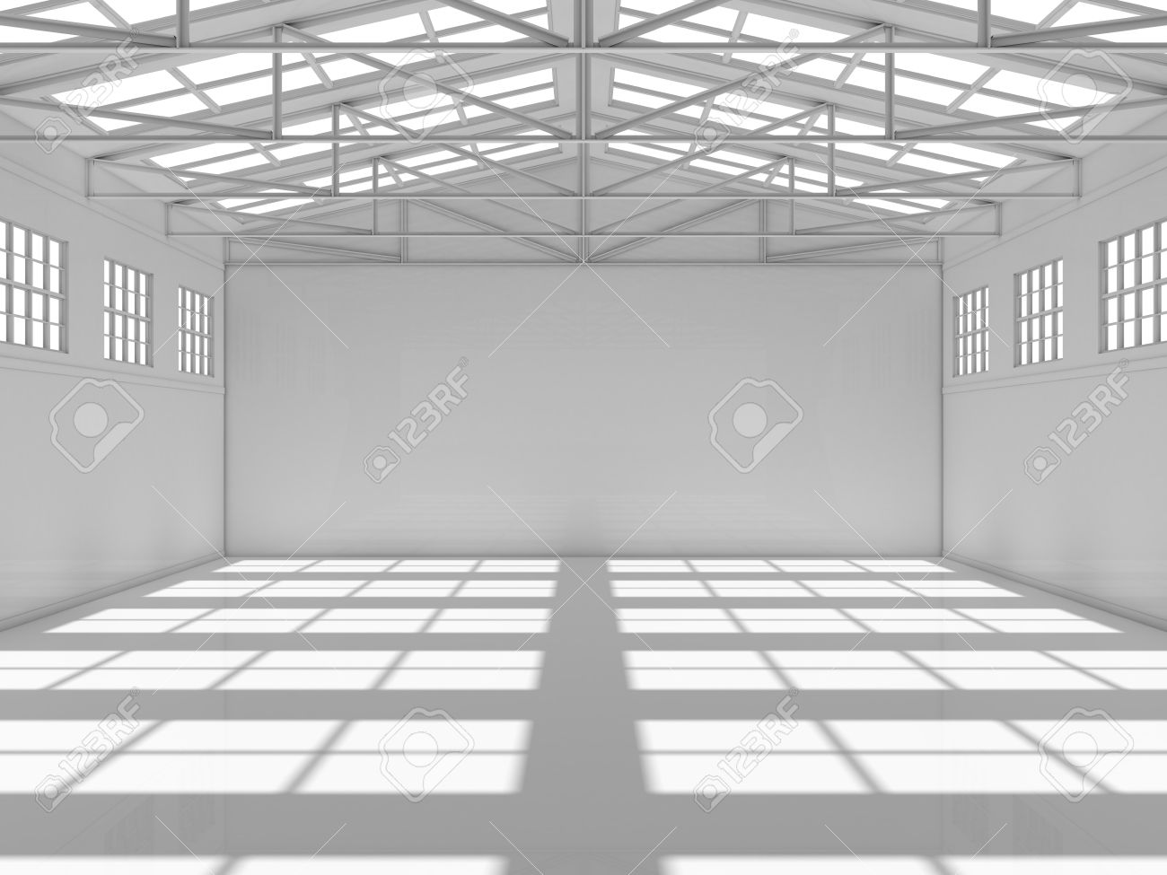 Abstract Empty White Warehouse Interior With Shadow On Floor. 3D Rendering  Stock Photo   66653718