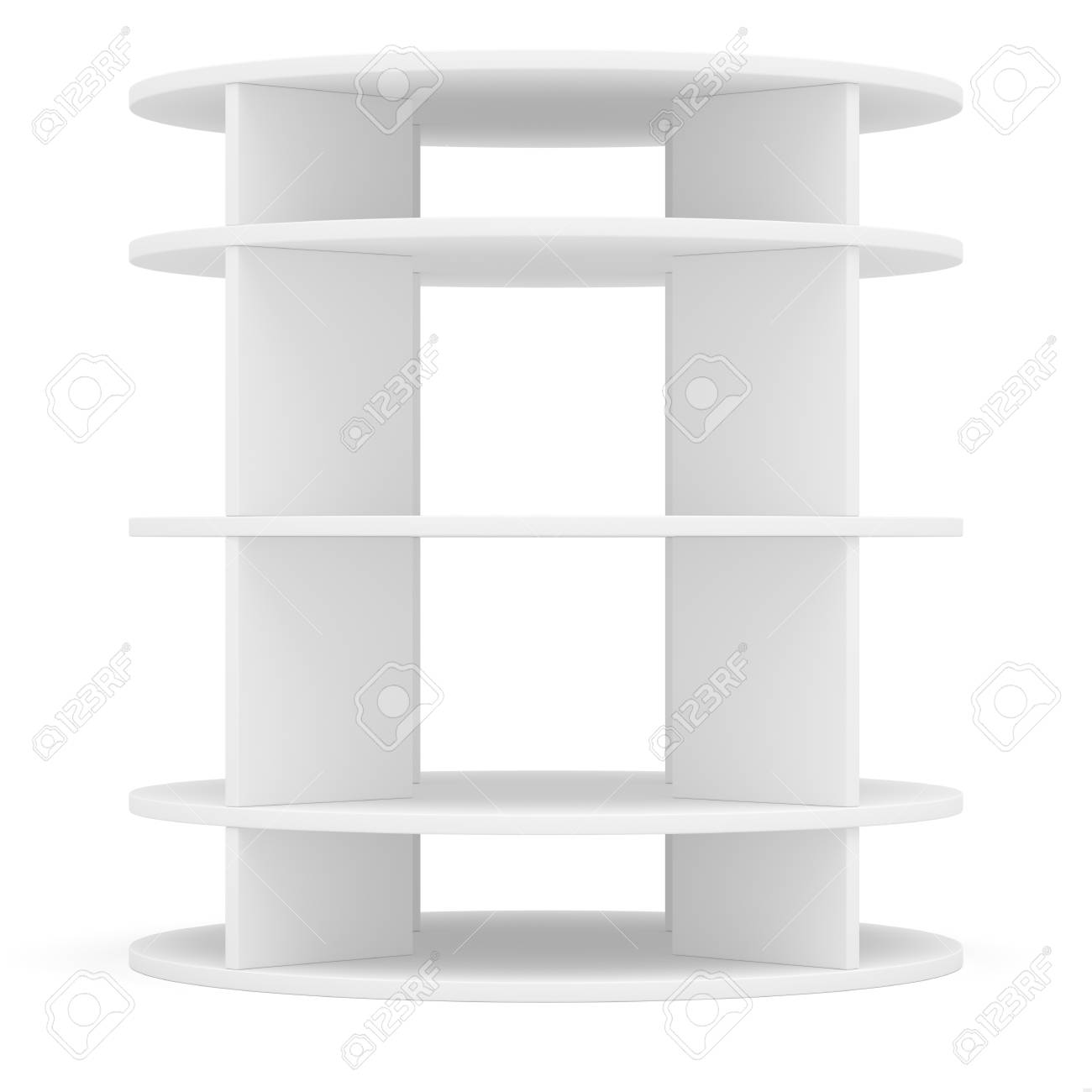 Empty Round Shelf For Exhibition. Templated For Design. 3D ...
