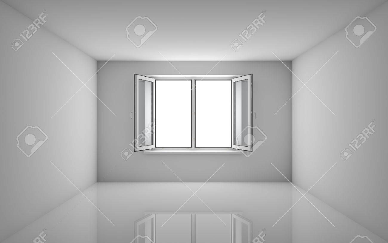 White Room And Open Window. 3D Illustration. Template For Design ...