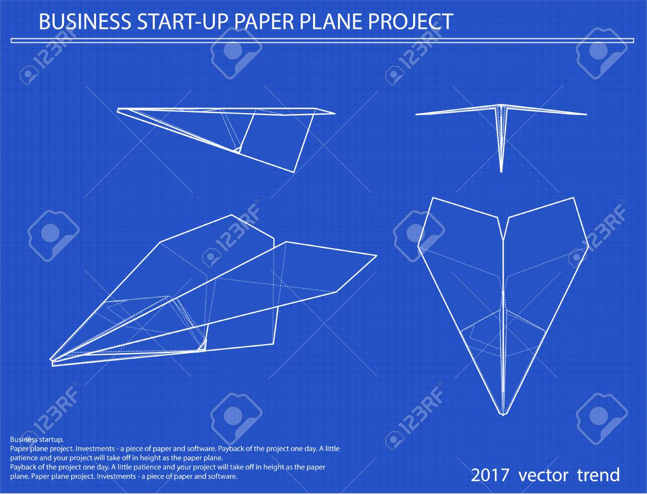 Airplane vector blueprint blue background with grid vector airplane vector blueprint blue background with grid vector illustration business concept stock vector malvernweather Images