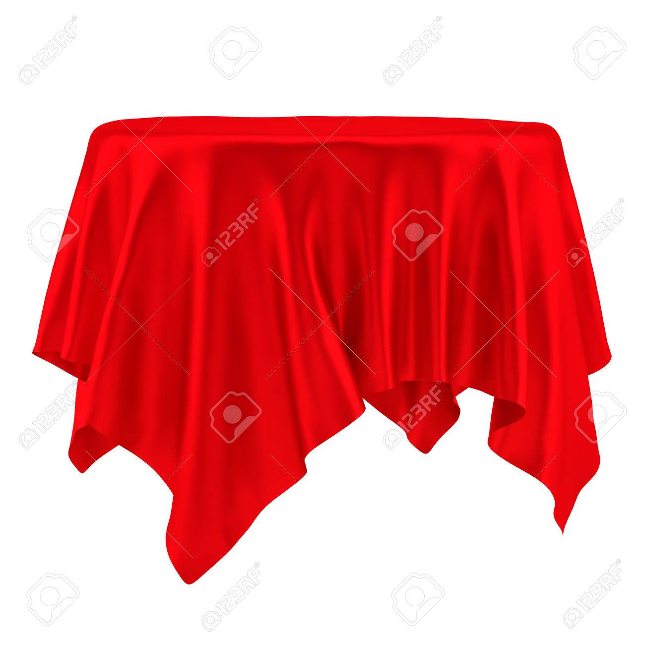 Empty Round Red Table Cloth. Isolated On White Background. 3D Illustration  Stock Illustration