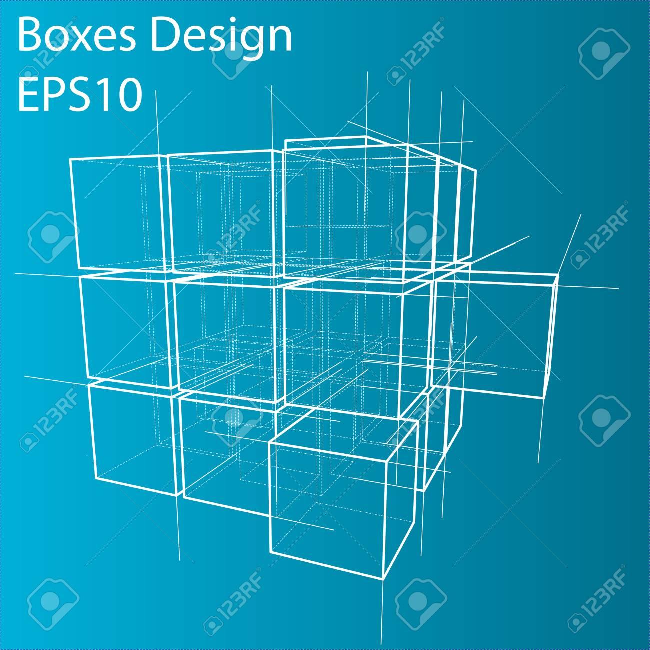 Cajas De Estructura Metálica Estilo De Dibujo Ilustración De Vector De Renderizado 3d