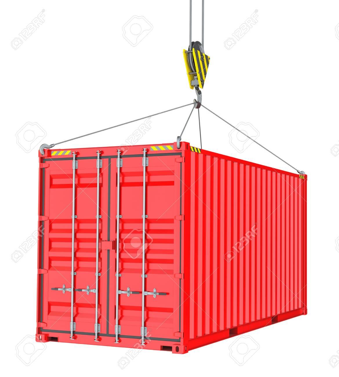 Roter Frachtcontainer Aufhangen Durch Haken Lizenzfreie Fotos