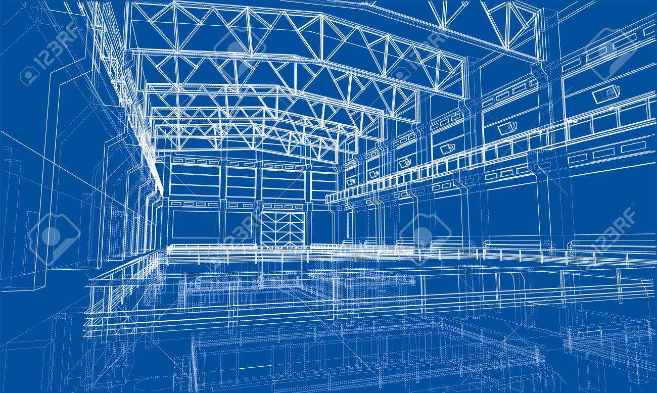 Industrial zone sketch. Vector rendering of 3d. Wire-frame style. The layers of visible and invisible lines are separated - 86916660