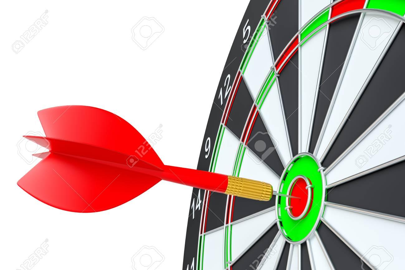 Flechette cible cible fléchette frapper dans le jeu de fléchettes banque d