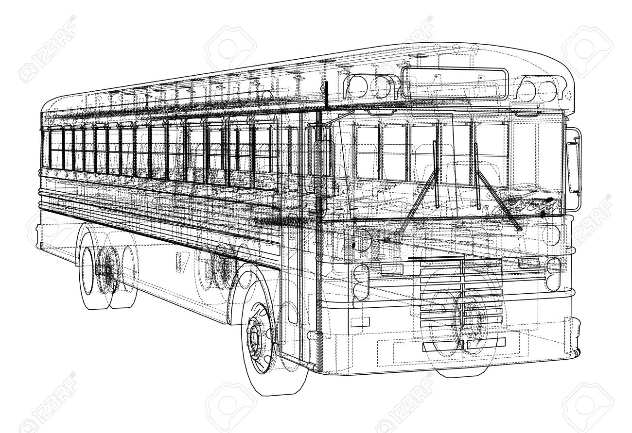 School bus outline vector  Vector EPS10 format, rendering of