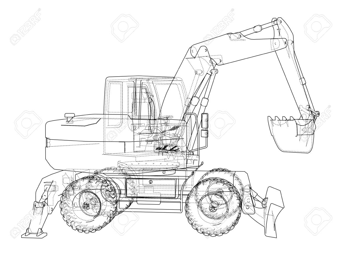 Outline Of Excavator Isolated On White Background Stock Photo
