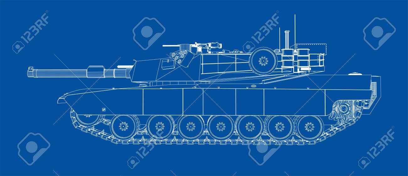 Blueprint Of Realistic Tank Vector Format Rendering Of 3d Royalty