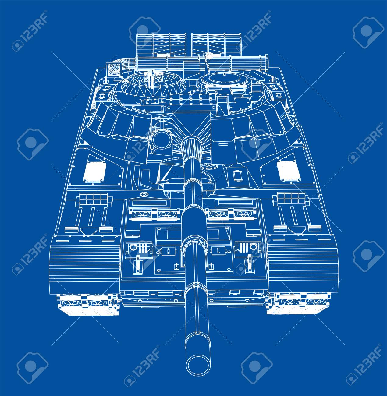 Blueprint Of Realistic Tank Vector Eps10 Format Rendering Of