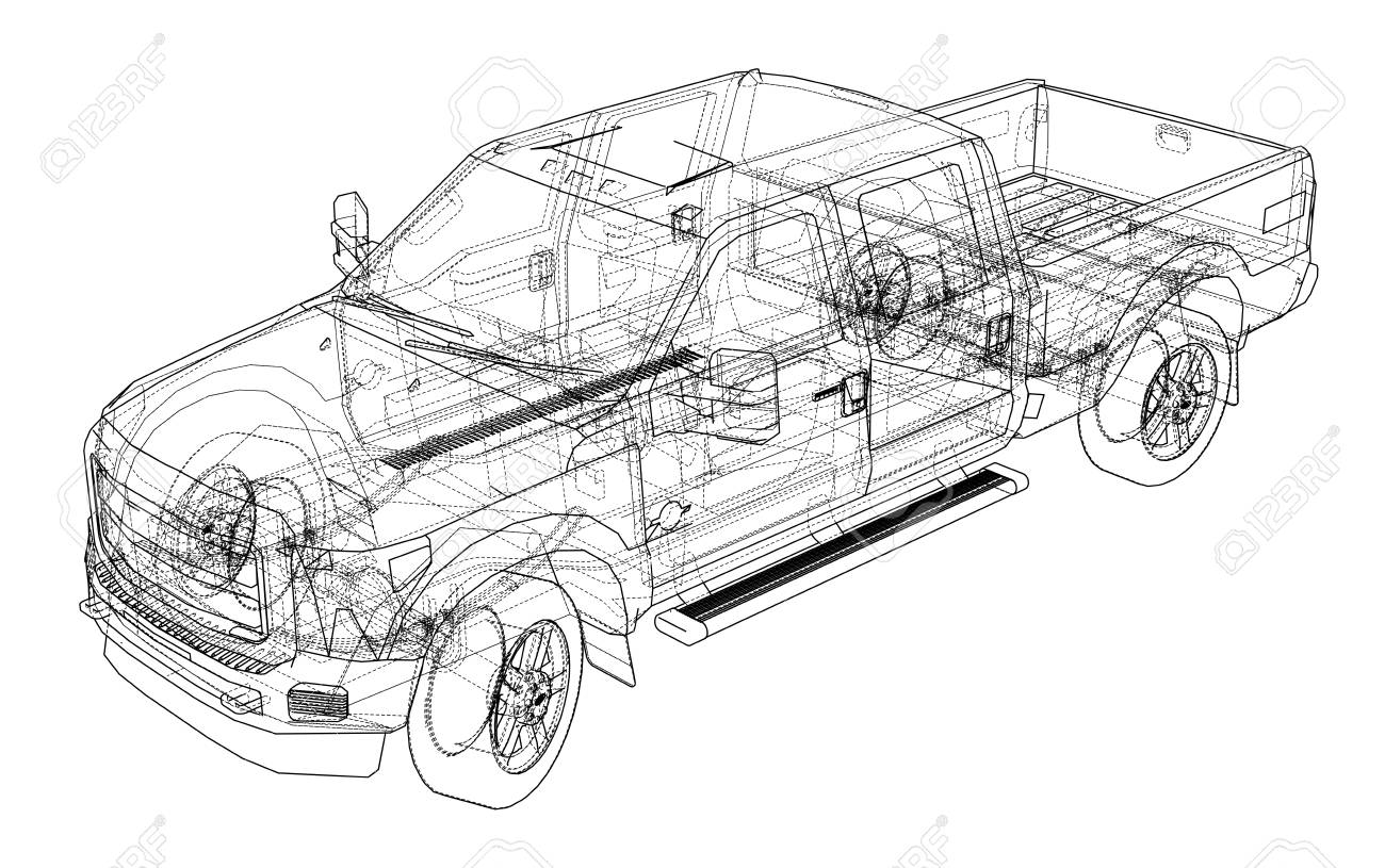 Car Drawing Outline In 3d. Royalty Free Cliparts, Vectors, And Stock ...