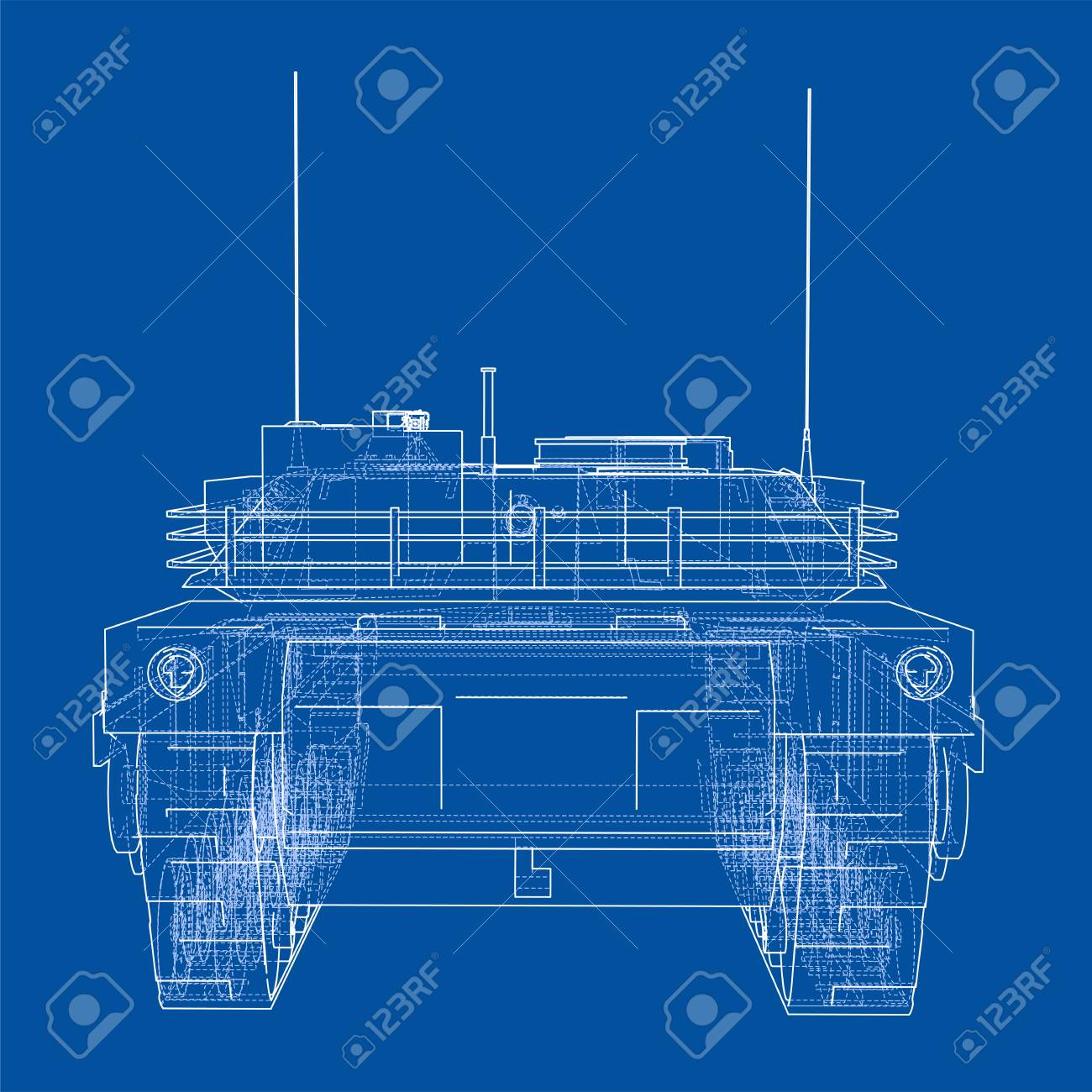 Blueprint Of Realistic Tank Vector Format With 3d Design Royalty