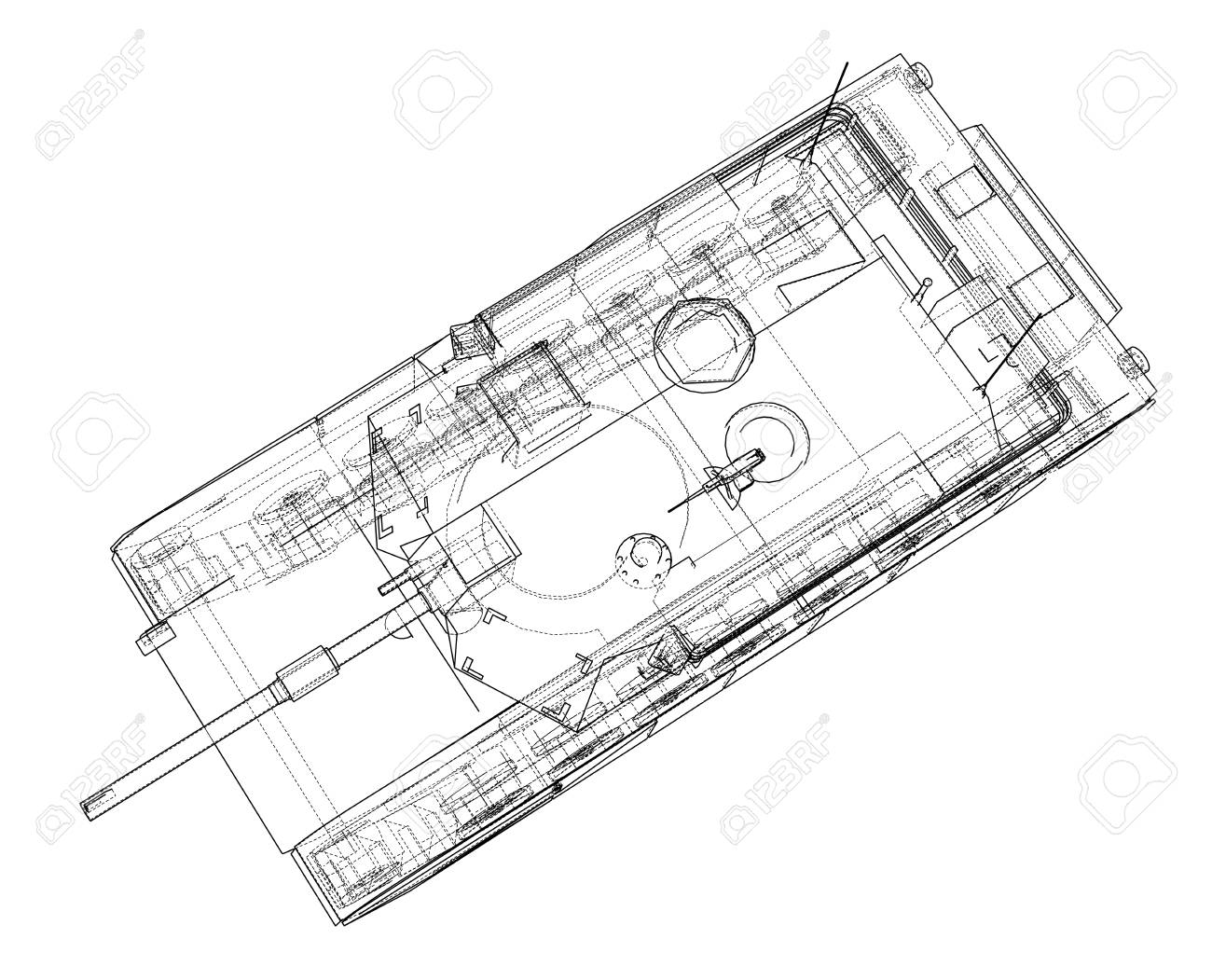 Blueprint Of Realistic Tank Vector Eps10 Format Rendering Of