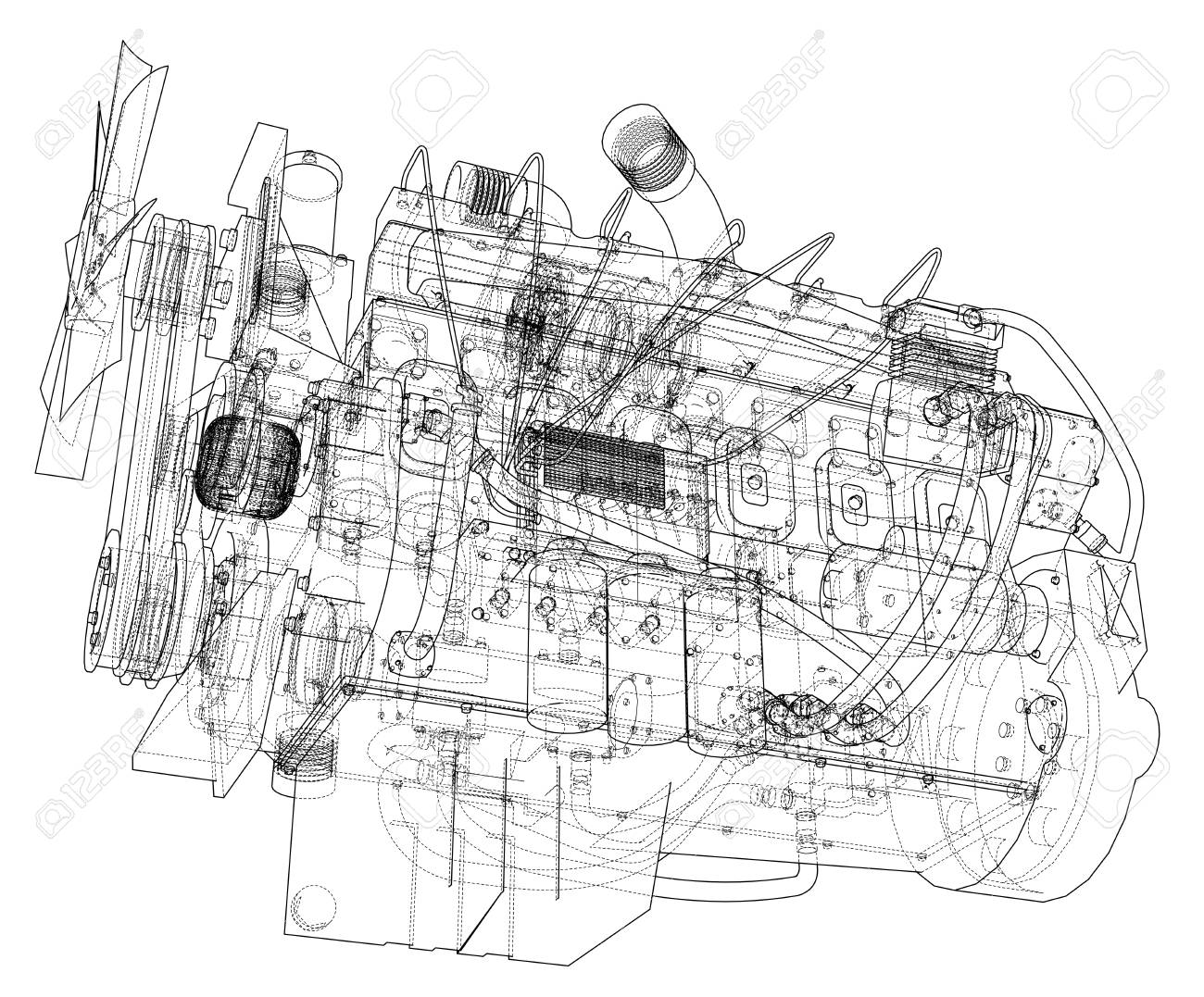 Car Engine Vector Format Rendering Of 3D. Royalty Free Cliparts ...