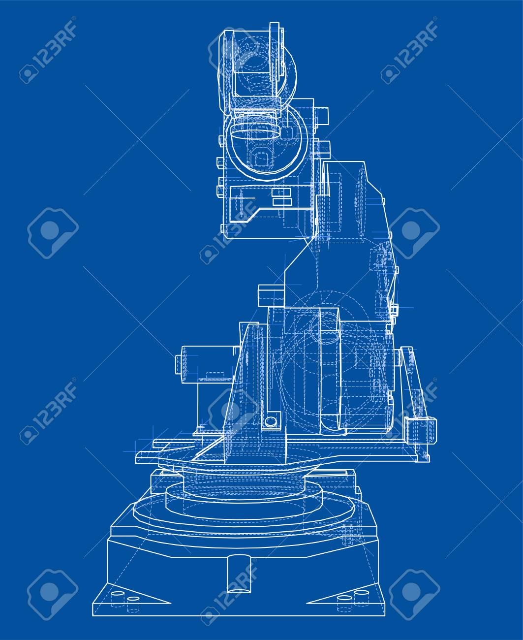 Industrial robot manipulator or robot arm  Vector image rendered
