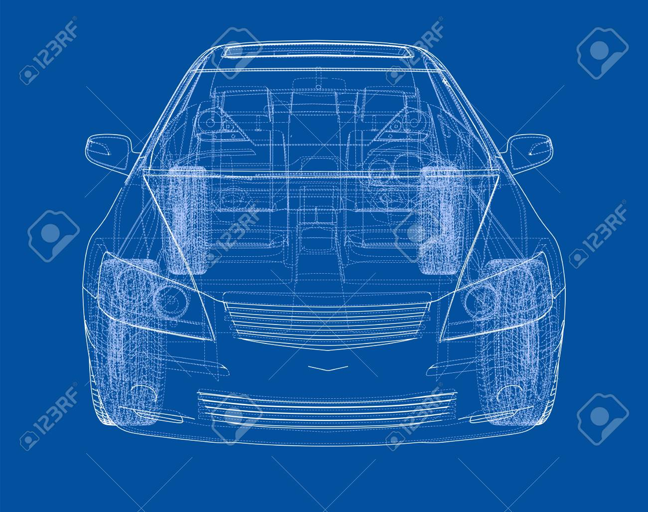 Concept car in 3d blueprint illustration vector front view royalty concept car in 3d blueprint illustration vector front view stock vector 95592714 malvernweather Gallery
