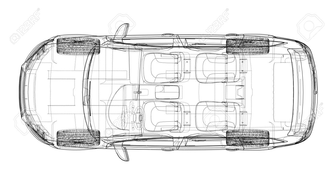 concept car in 3d blueprint illustration vector top view royalty Car Accident Diagram Top View concept car in 3d blueprint illustration vector top view stock vector 95592827