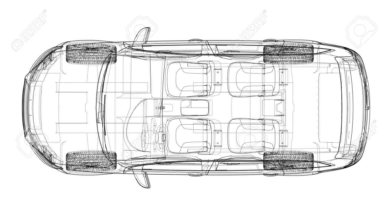 Concept car in 3d blueprint illustration Vector top view - 95592827