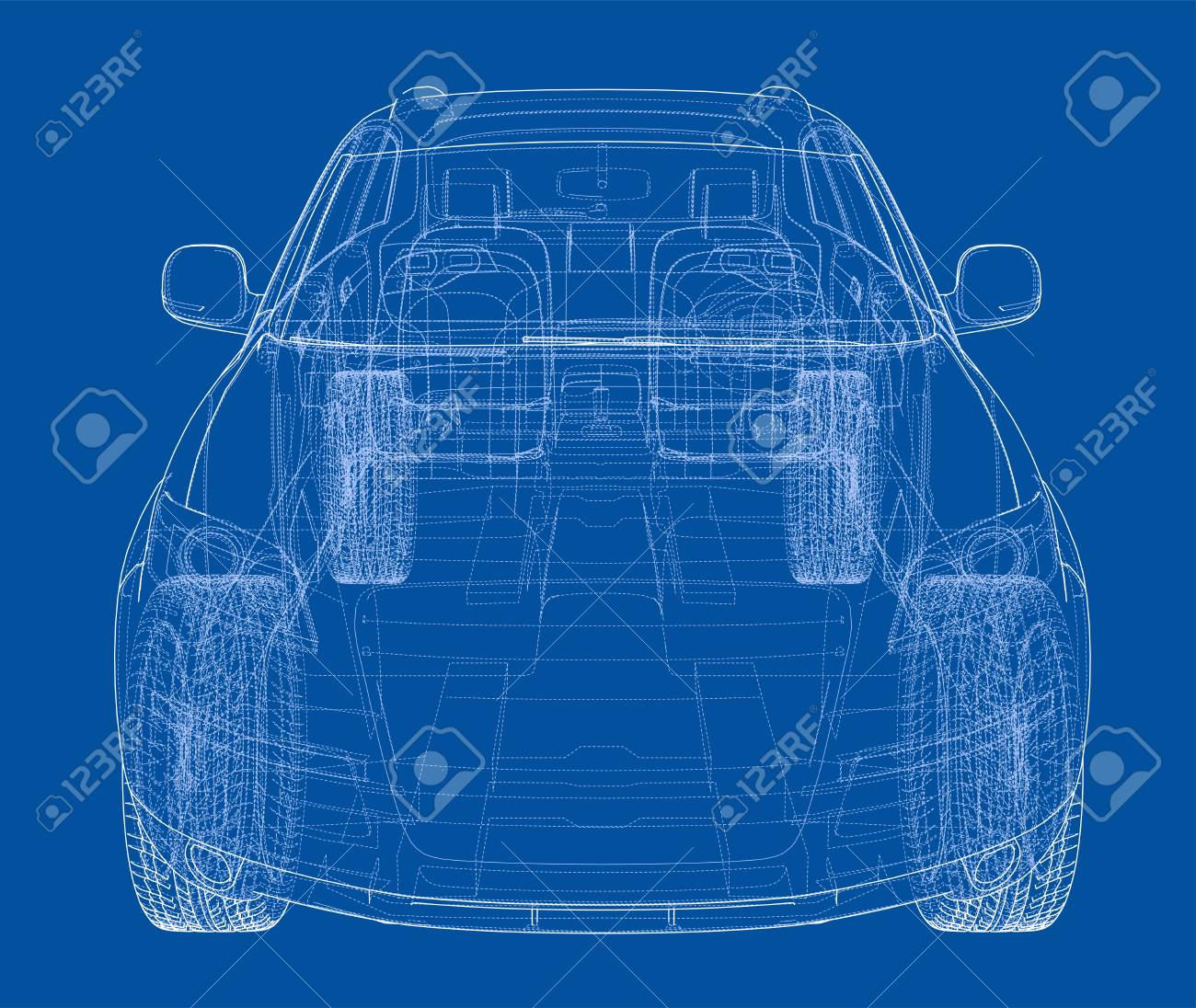 Concept car in 3d blueprint illustration vector front view royalty concept car in 3d blueprint illustration vector front view stock vector 95592823 malvernweather Gallery